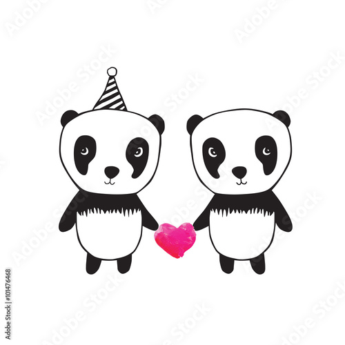 Two little cute pandas with pink watercolor hearts. Greeting card for Valentine's Day, Mother's Day, Father's Day, birthday, wedding. - 101476468