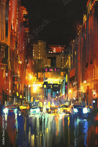 Fototapeta night city in the rain with reflections on wet street,digital painting