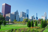 Chicago, Illinois: skyline visto da Grant Park, 22 settembre 2014