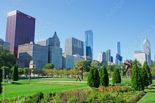 Fotobehang Chicago Chicago, Illinois: skyline visto da Grant Park, 22 settembre 2014
