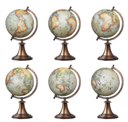 Collection of old style world globes isolated on white backgroun