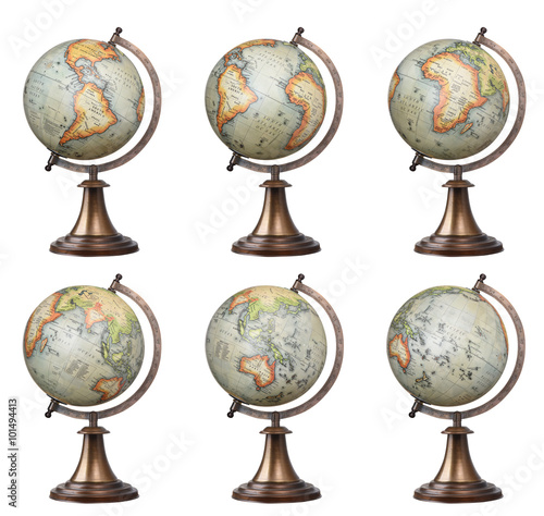 Collection of old style world globes isolated on white backgroun © chones