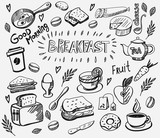Fototapety vector breakfast and morning icon set