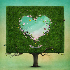 Greeting card or poster with  square tree and  heart for Mother's Day. Computer graphics.