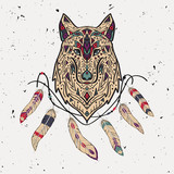 Vector colorful illustration of tribal style wolf with ethnic ornaments, feathers, threads. American indian motifs. Boho design.