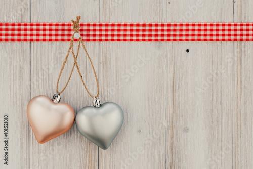 Hearts shape on vintage wood background, Celebration