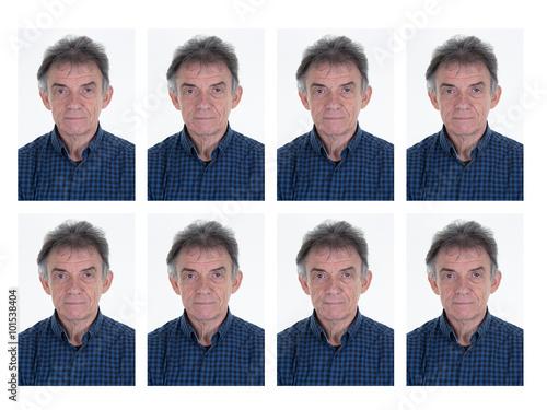 Photo d'identification d'un homme pour le passeport, la carte d'iden Poster