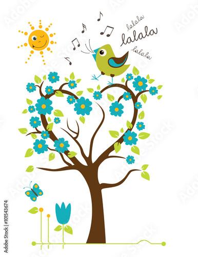 Naklejka Singing Bird on the tree. Stylized happy cartoon illustration. Flat color vector design. Child theme.