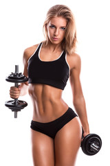 Sexy fitness girl with dumbbells © blackday