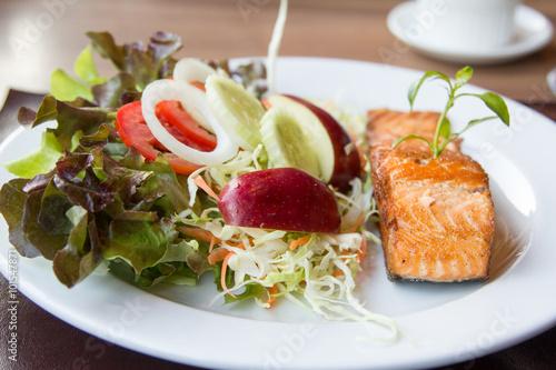Fototapeta Salmon fish steak.