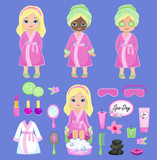 Fototapety Girl in pink bathrobe takes spa treatments.Vector illustration isolated on background.