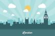 Obrazy na płótnie, fototapety, zdjęcia, fotoobrazy drukowane : London skyline - flat design
