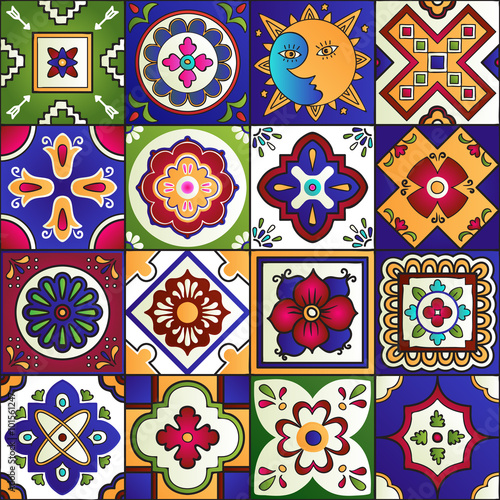 Fototapeta Talavera mexican tiles seamless pattern