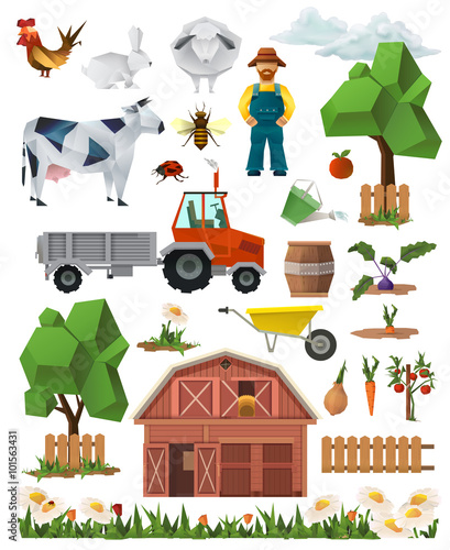 Fotobehang Boerderij Farm, low poly set of vector icons
