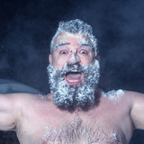 Fototapety Crazy Russian man ran out of the bath in the snow
