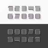 Thin line style, linear modern font numbers with shadow effect