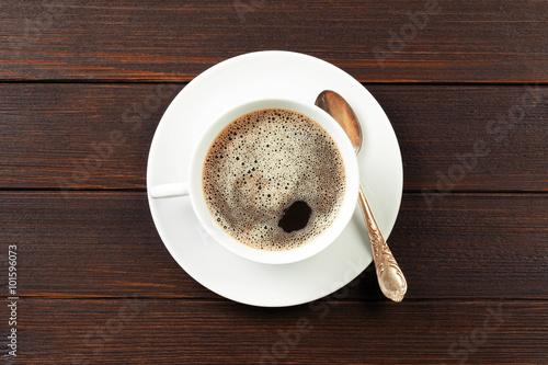 Fotobehang Koffiebonen coffee cup on wooden background