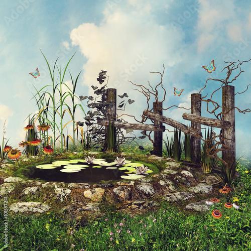 Zdjęcia na płótnie, fototapety, obrazy : Niewielki staw z drewnianym płotem, kwiatami i motylami