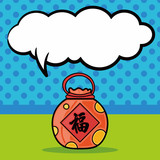 Chinese talisman doodle, speech bubble
