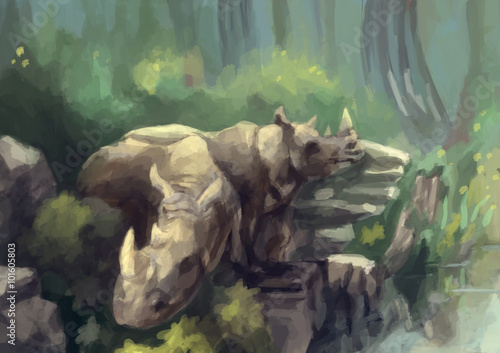 illustration digital painting wild rhinoceros