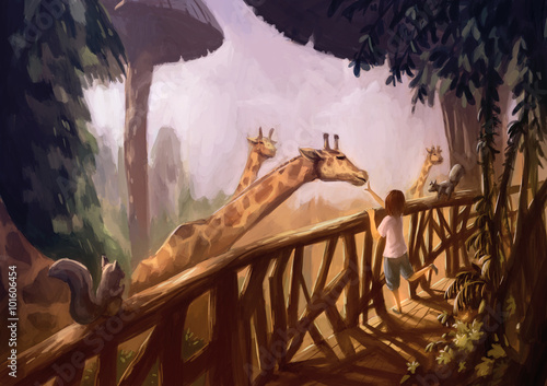 illustration digital painting kid giraffe