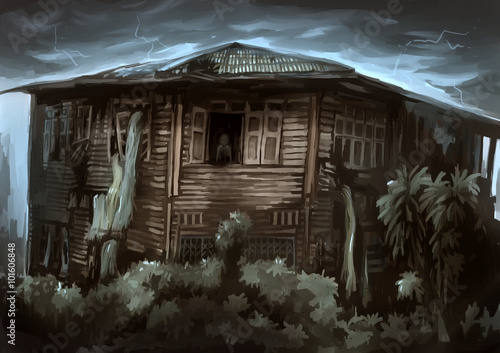 illustration digital painting ghost house