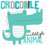 cute crocodile vector illustration
