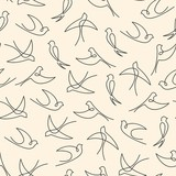 Seamless pattern made of one line swallows - 101616420
