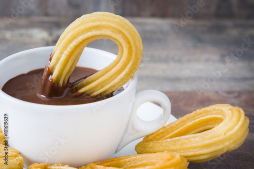 Canvas Chocolade Hot chocolate with churros. Spanish breakfast