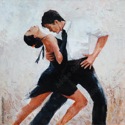 tango dancers digital painting, tango dancers