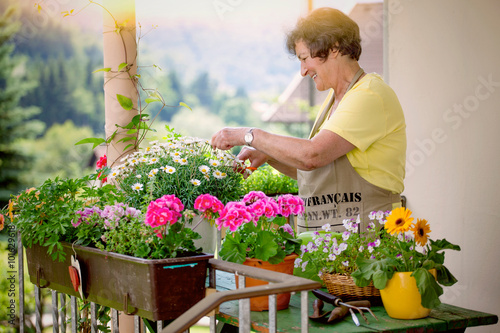 canvas print picture senior woman with flowers on balcony/gardening 08