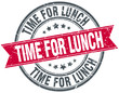 time for lunch red round grunge vintage ribbon stamp