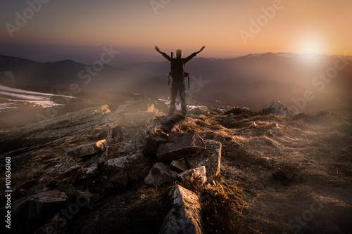 fototapeta na ścianę Concept alpiniste vision perspective challenge