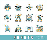 Vector set of various types of robots.