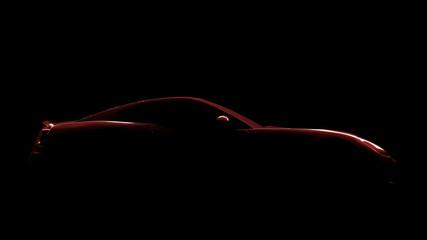 czerwony sportowy samochód sylwetka