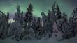 Aurora borealis (Northern lights) sliding pan scene in forest