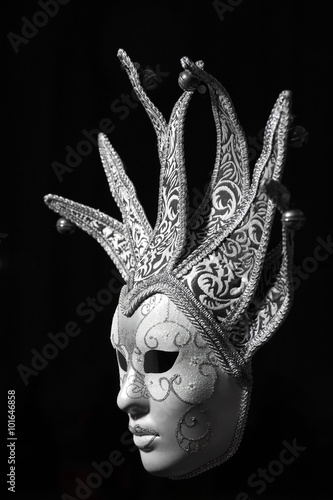 obraz PCV Isolated Silver Venetian mask on a black background