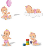 Baby girl wearing diaper. Cute toddler.