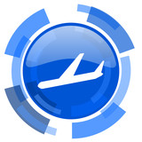 arrivals blue glossy circle modern web icon