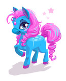 Cute cartoon little blue horse with pink hair