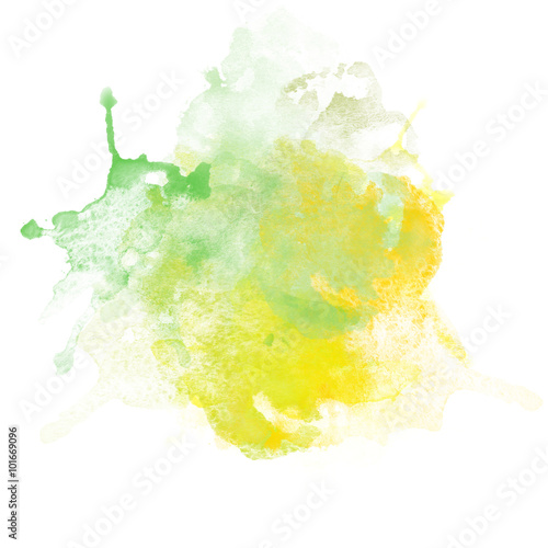 Design of Green and Yellow Watercolor Splash for various decor. © LoveKay