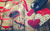 Gift , the heart and the bottle of red wine for a romantic holiday Valentine