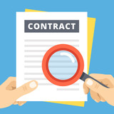Contract review flat illustration. Hand with magnifier over contract page