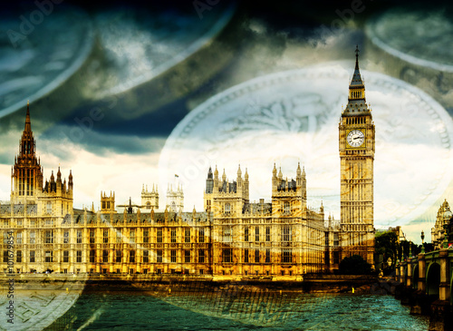 Poster Big Ben and Houses of Parliament with Money