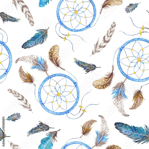 Cotton fabric Boho Pattern with Feathers and Dreamcatcher