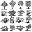 Obrazy na płótnie, fototapety, zdjęcia, fotoobrazy drukowane : set of abstract tree silhouettes