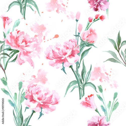 Watercolor seamless pattern with blooming peonies. Vector Illustration - 101704263