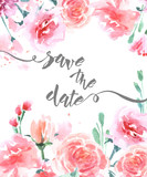 Fototapety Save The Date with watercolor rose. Wedding Invitation Card (Use for Boarding Pass, invitations, thank you card.) Template Vector.