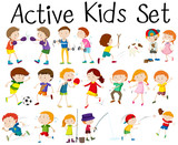 Fototapety Set of children doing different activities