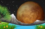 Fototapeta Fototapety na ścianę do pokoju dziecięcego - Nature scene with fullmoon at night © blueringmedia